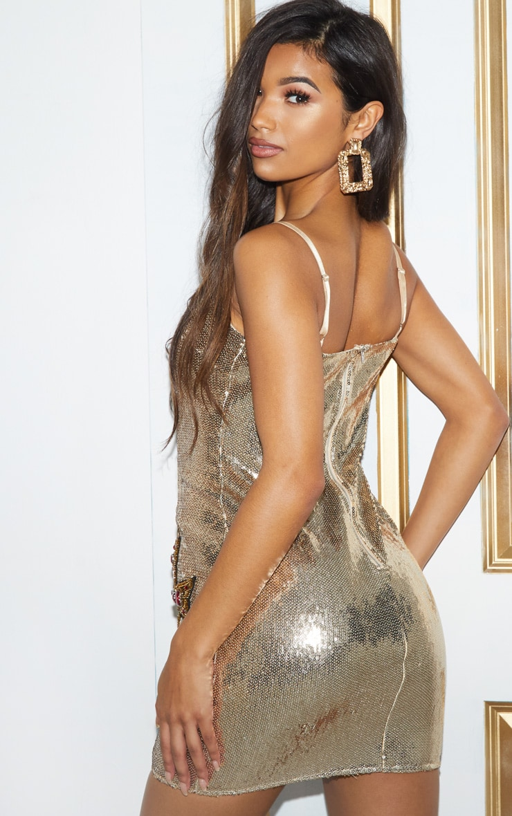 Gold Sequin Cross Embellished Bodycon Dress 3