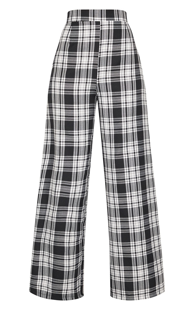 Monochrome Check High Waisted Wide Leg Trousers 4