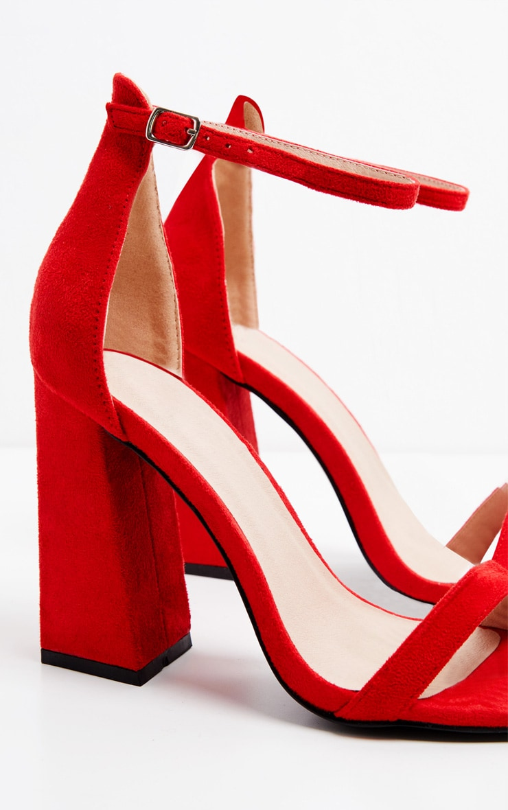 Red High Block Heel Strappy Sandal 3