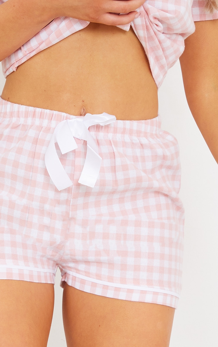 Pale Pink Mix And Match Tie Waist Check PJ Shorts 4