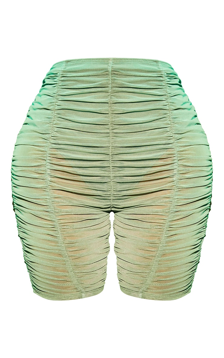 Shape Green Mesh Extreme Ruched Cycling Shorts 6