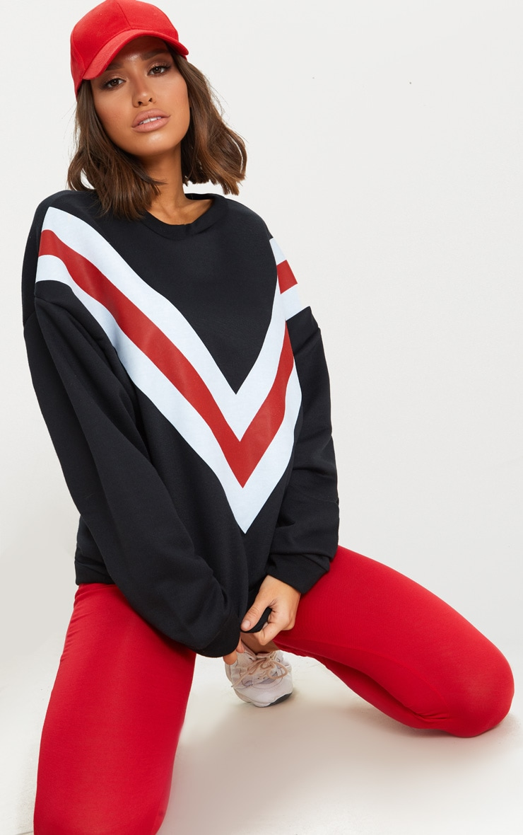 Black Chevron Oversized Sweater  4