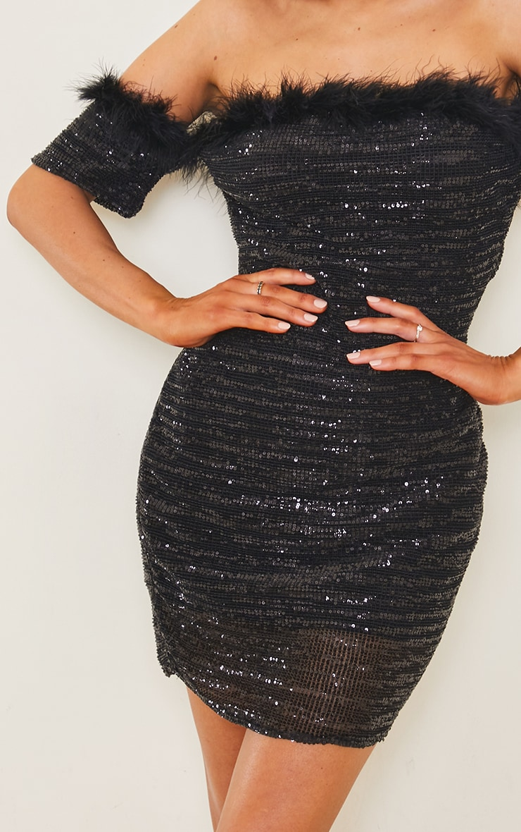 Black Sequin Bardot Feather Trim Bodycon Dress 4