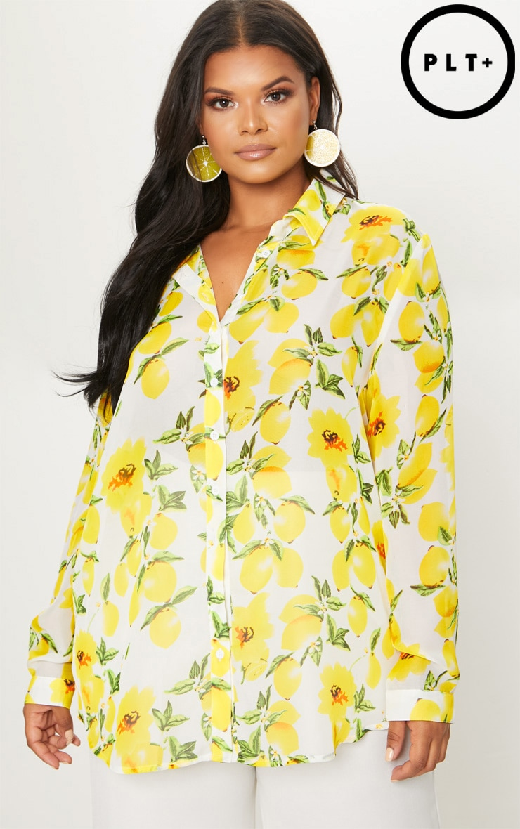 Plus Lemon Print Oversized Shirt  4