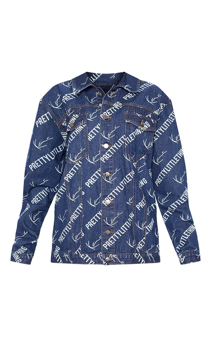 KARL KANI Blue Printed Oversized Denim Jacket 5