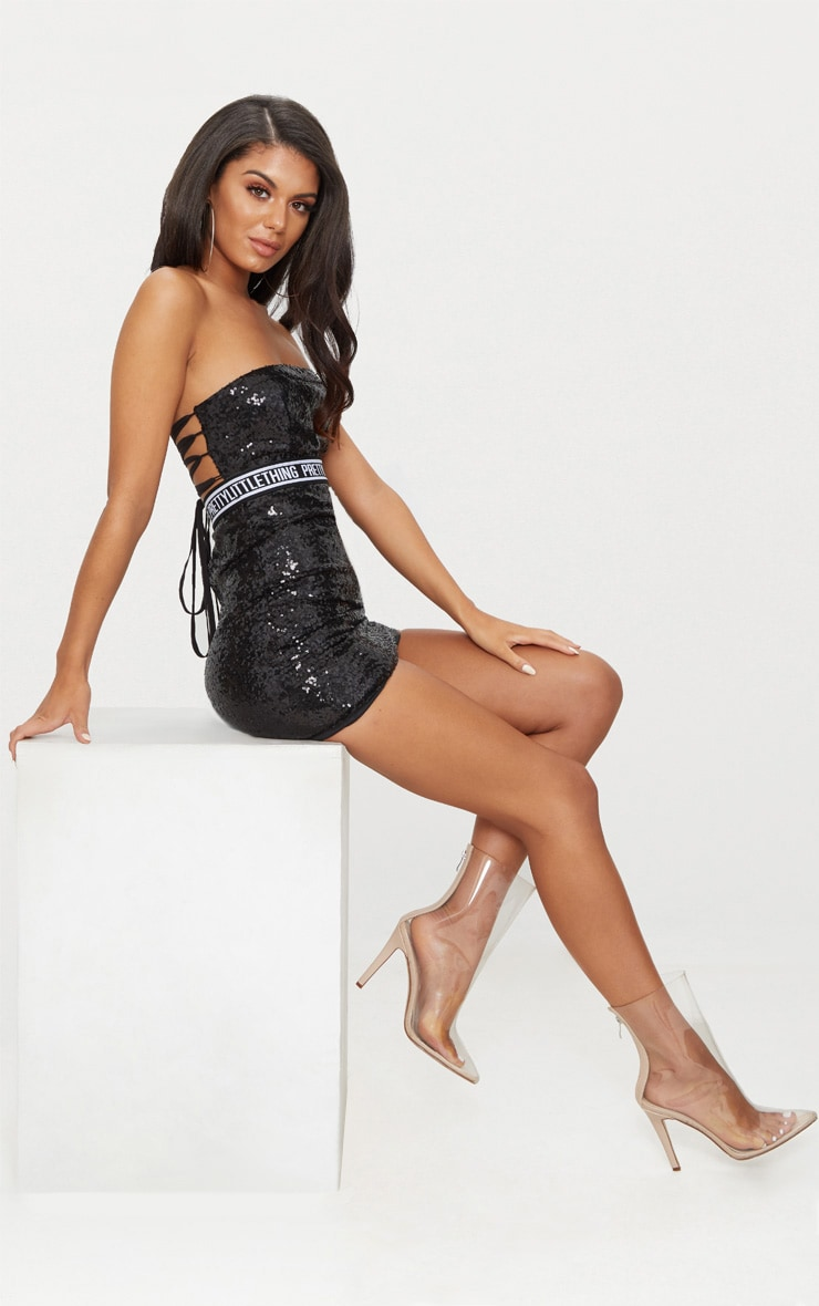 PRETTYLITTLETHING Black Sequin Bandeau Strappy Back Bodycon Dress 3