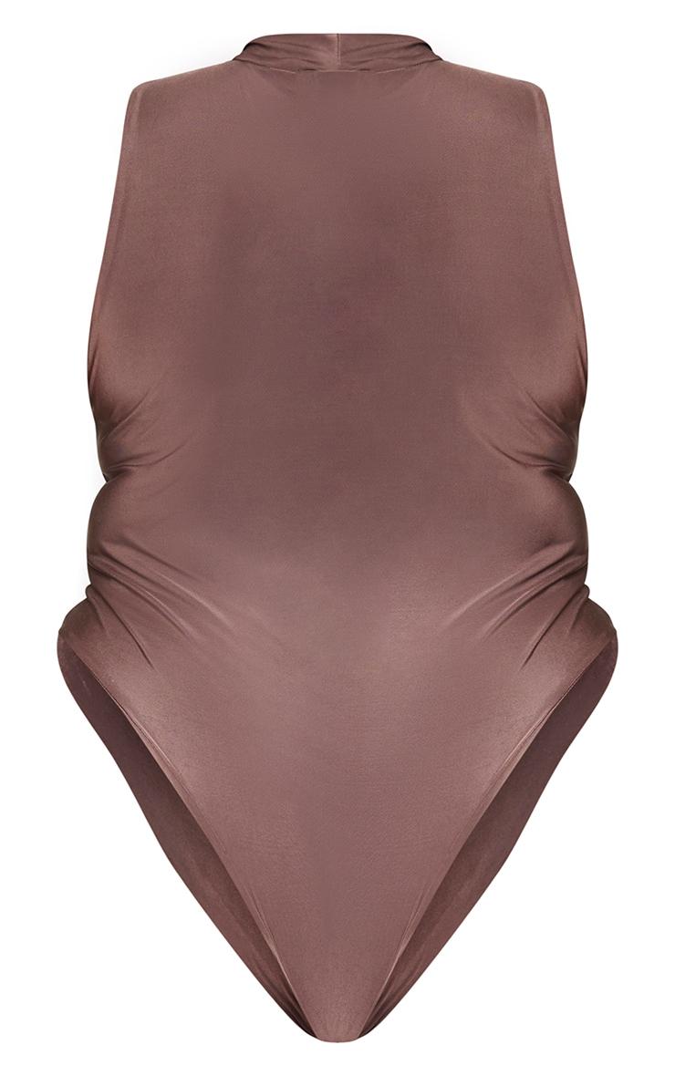 Plus Dark Brown Slinky High Neck Sleeveless Bodysuit 6