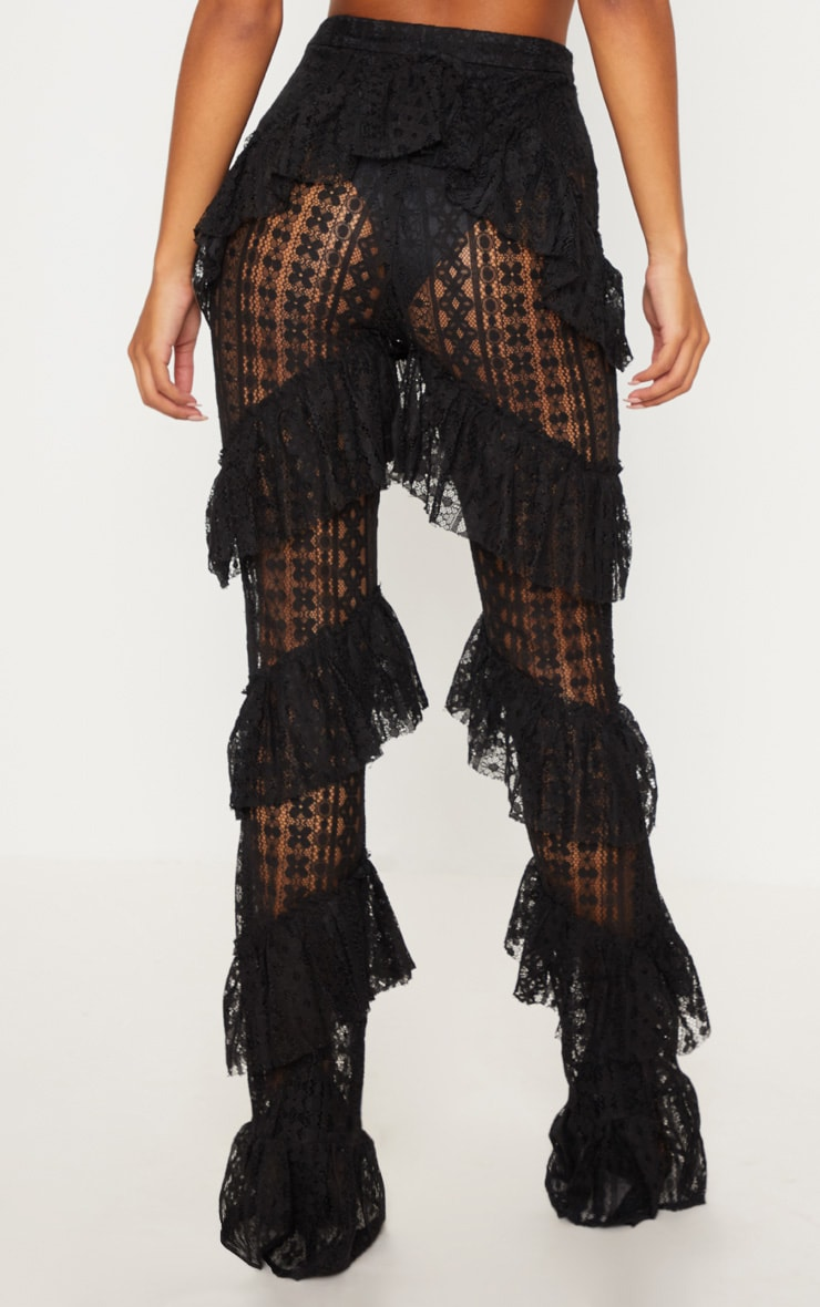 Black Tiered Lace Flare Trouser 4