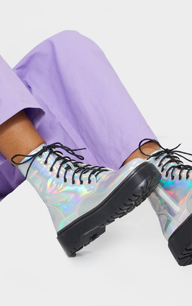 Holographic Lace Up Chunky Ankle Boots 1