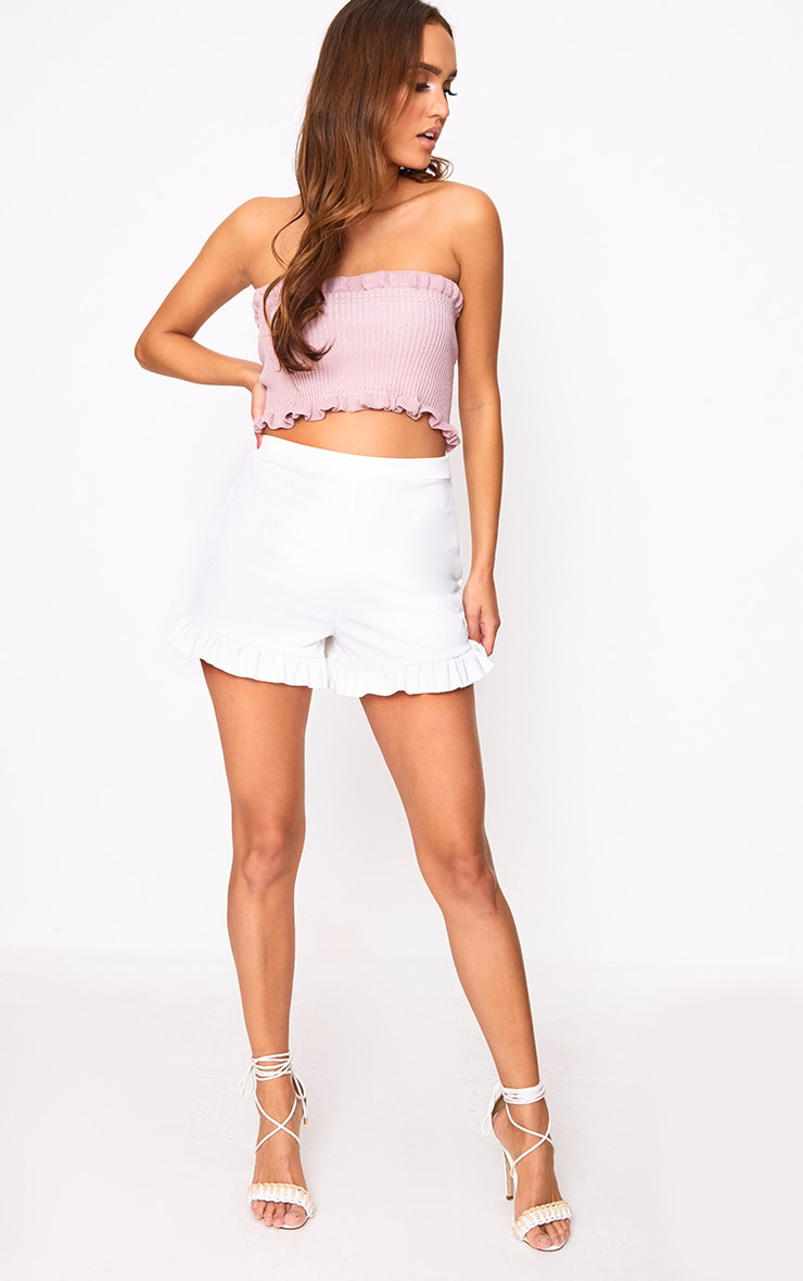 White Frill Hem Shorts  5