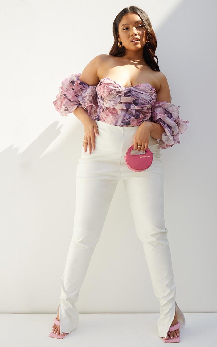 Plus Pink Renaissance Print Ruffle Puff Sleeve Bardot Crop Top 3