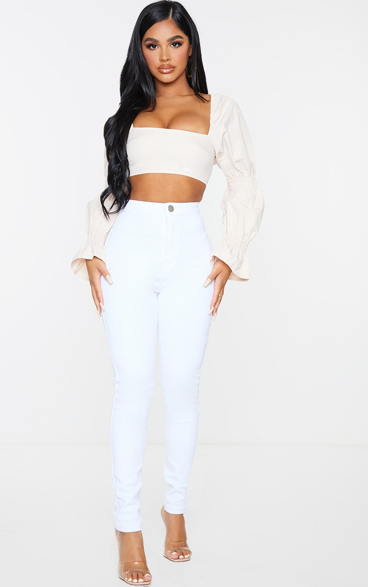 Petite Stone Ruched Detail Cropped Blouse 3