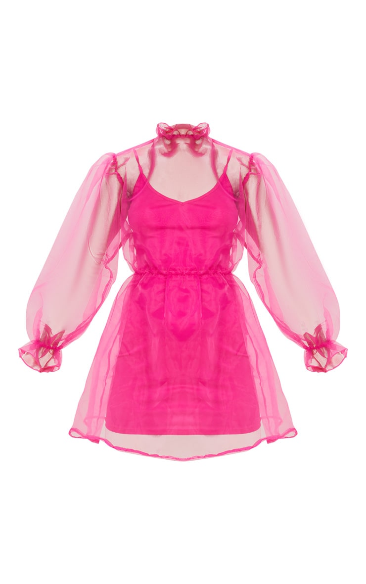 Hot Pink Organza Puff Sleeve Smock Dress 1