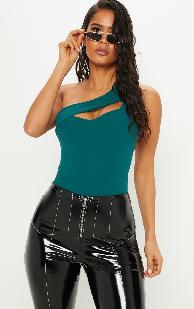 Emerald Cut Out One Shoulder Bodysuit
