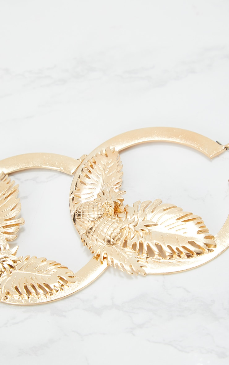Gold Pineapple Leaf Chunky Hoop Earrings 4