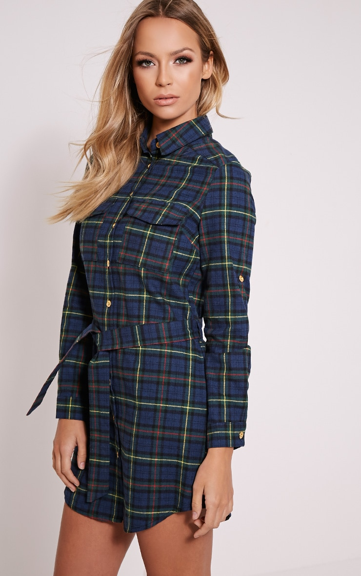 Jacqui Green Checked Tie Waist Shirt Dress 4