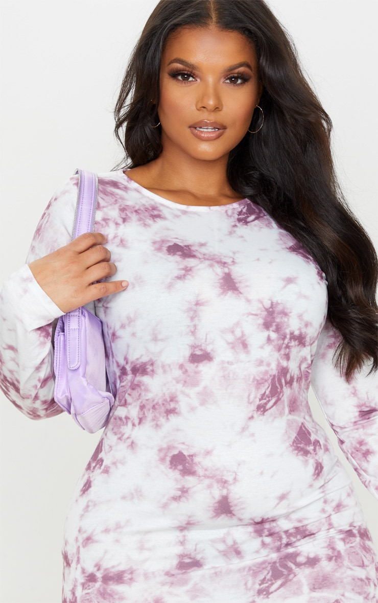 Plus Mauve Tie Dye Long Sleeve Frill Hem Shift Dress 4