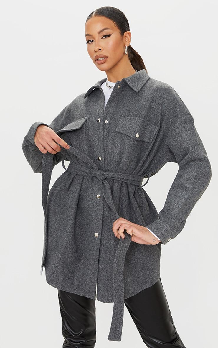 Tall Grey Oversized Wrapped Shacket 3
