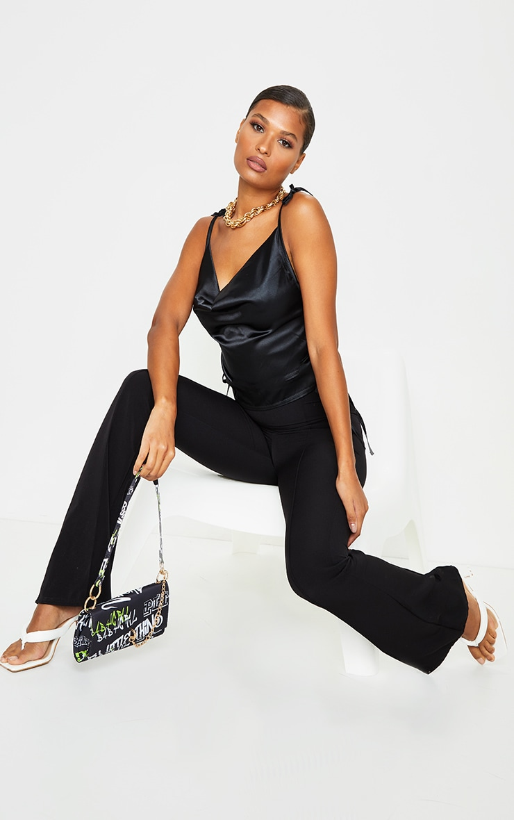 Black Satin Ruched Side Seam Cami Top 3