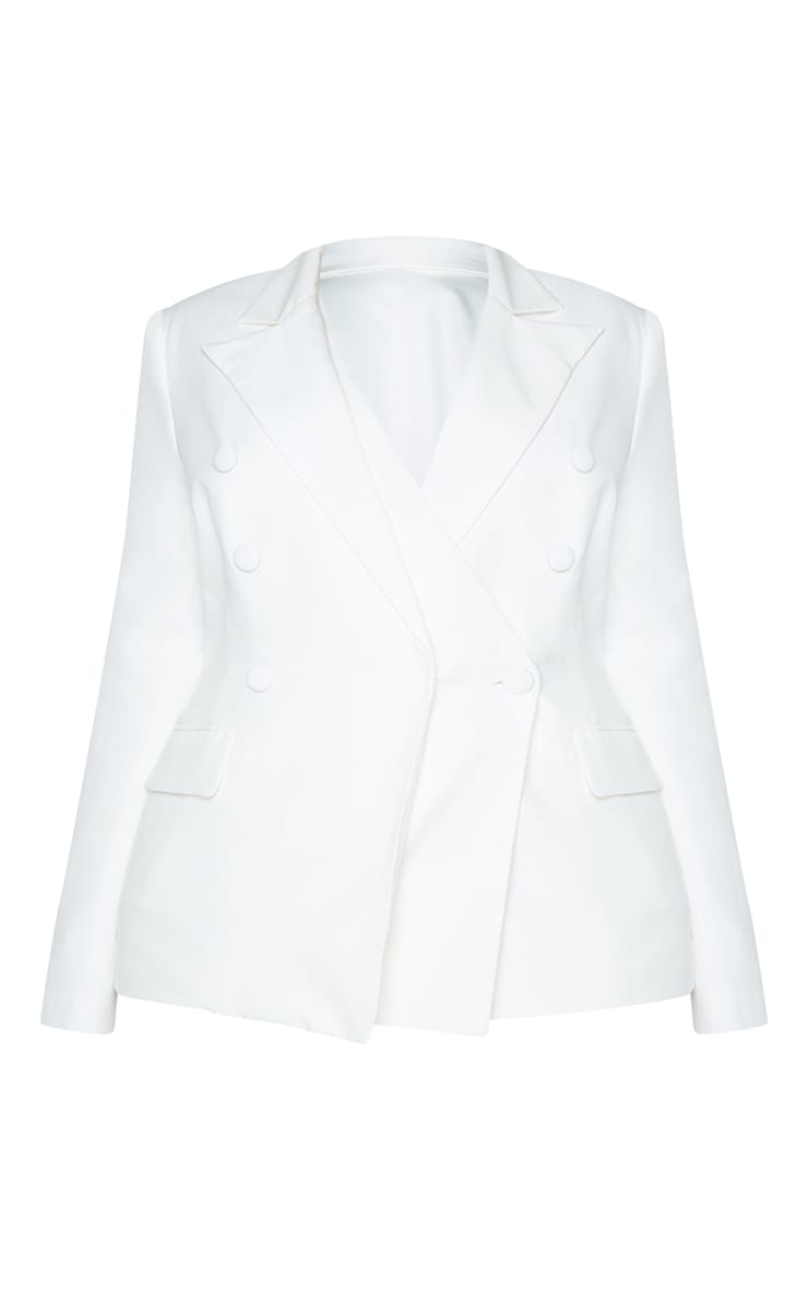 Plus White Shoulder Pad Fitted Blazer 5