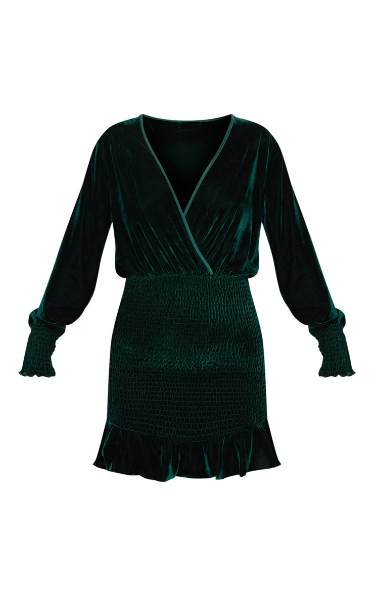 Emerald Green Velvet Shirred Wrap Front Bodycon Dress 3