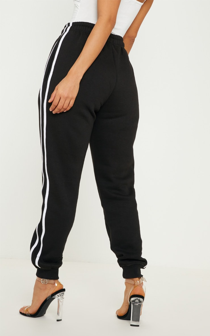 Black Double Side Stripe Joggers 4