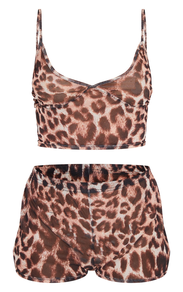 Leopard Mesh V Neck Cami and Short PJ Set 5