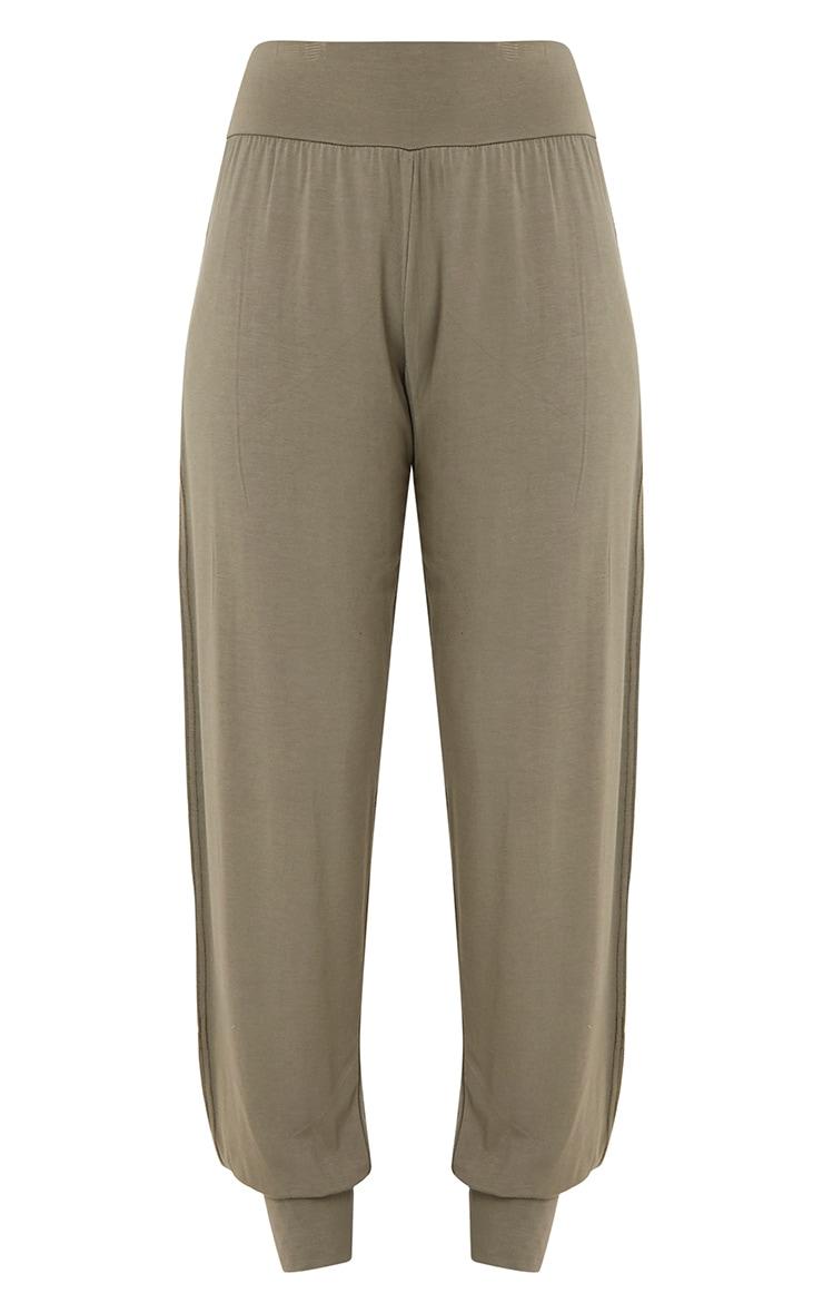Chasity Khaki Split Side Jersey Trousers 3