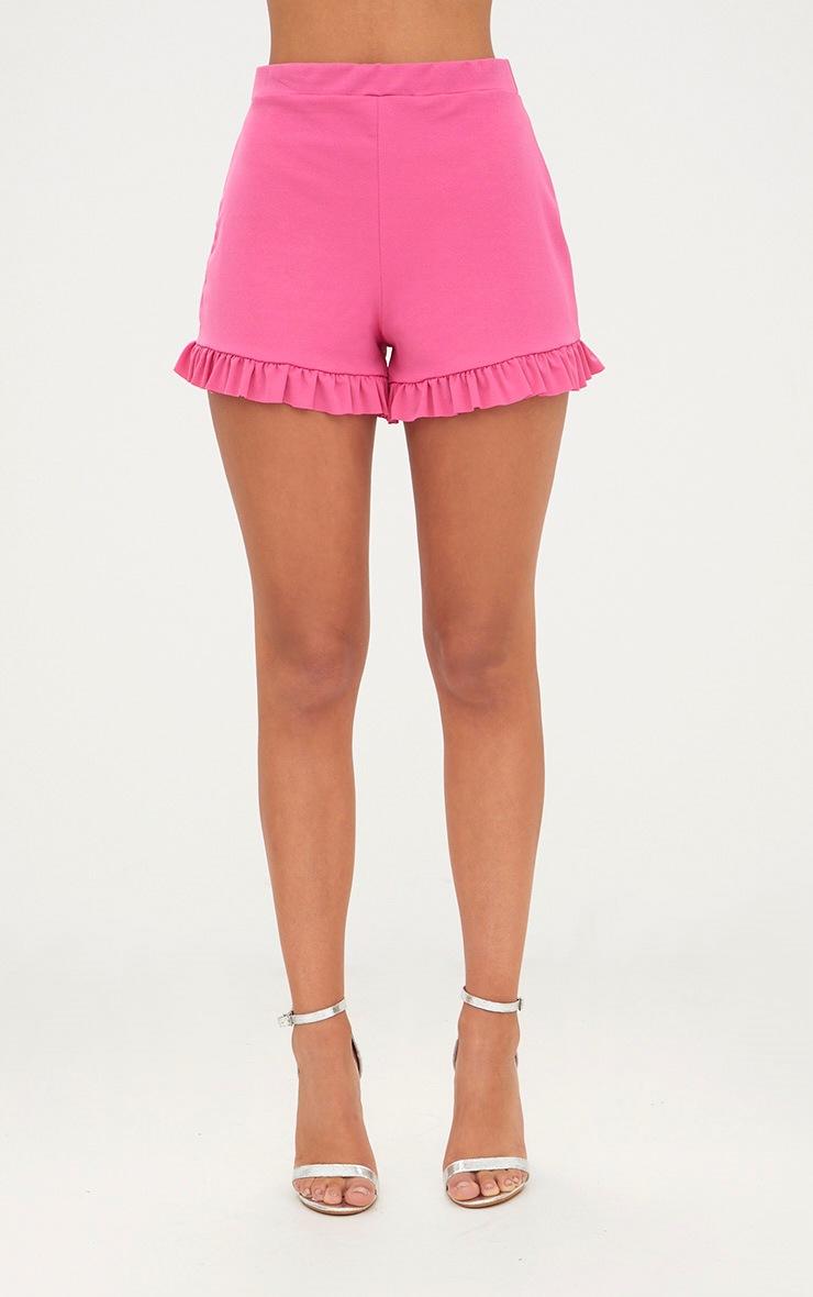 Fuchsia Frill Hem Shorts 2