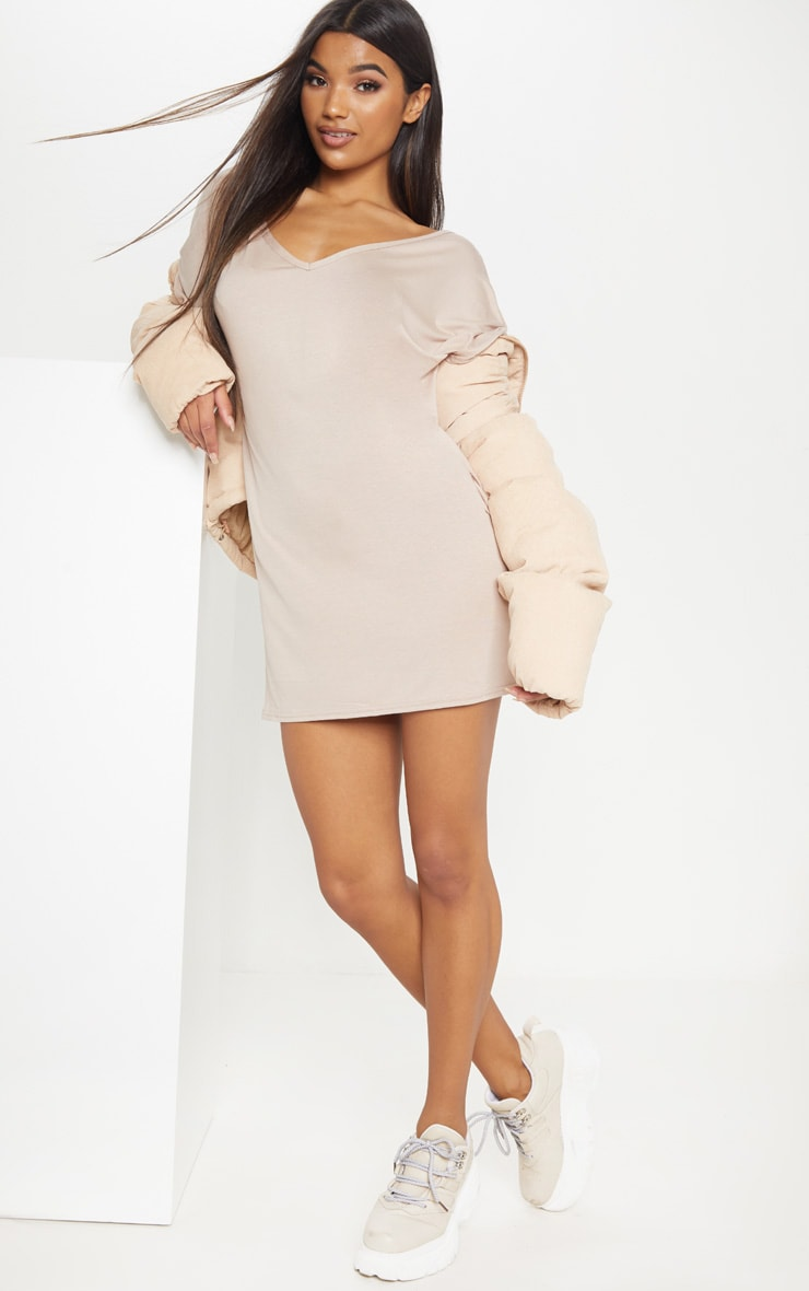 Basic Nude V Neck T Shirt Dress 4