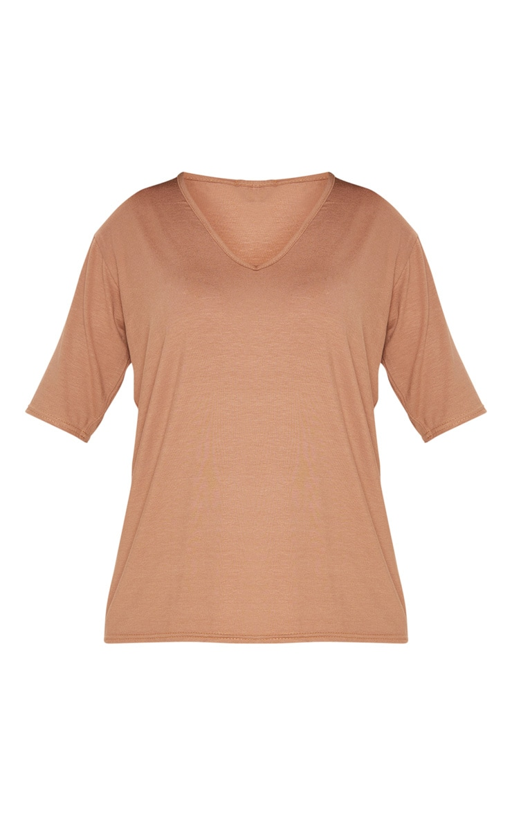 Basic Dark Camel V Neck T Shirt 3