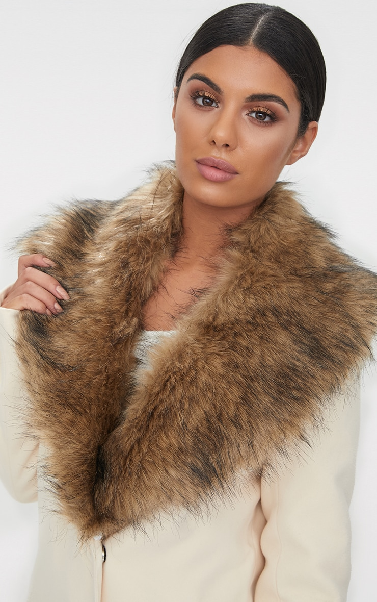 Cream Faux Fur Collar Double Breasted Coat 5