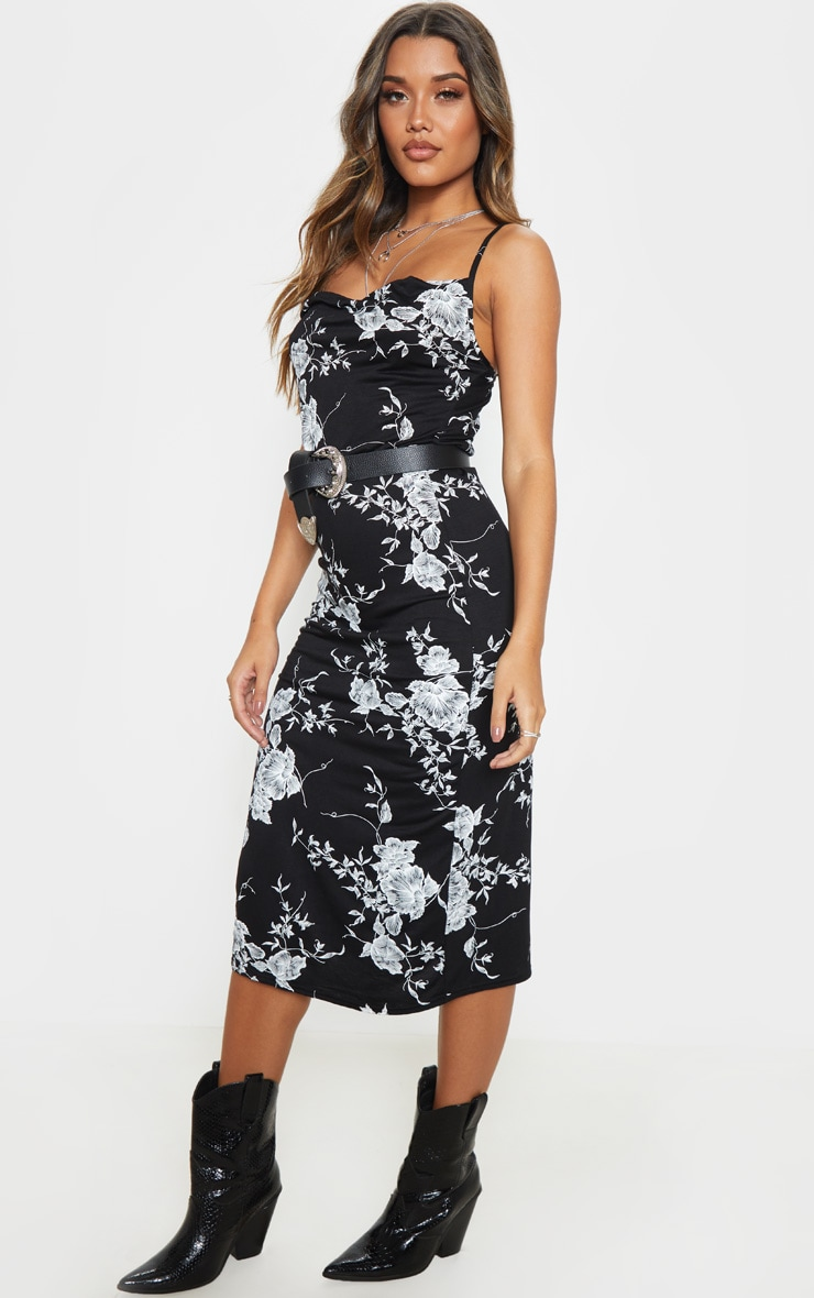Black Leaf Print Cowl Midi Dress 4