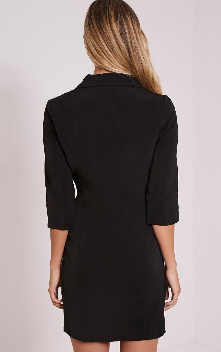 Maryam Black Longline Asymmetric Zip Front Blazer Dress 3