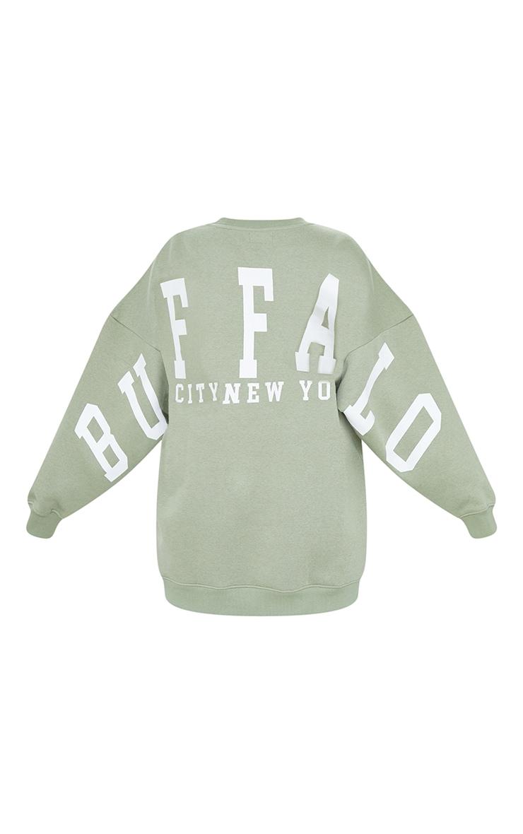 Sage Green  Buffalo New York Slogan Sweatshirt Dress 5