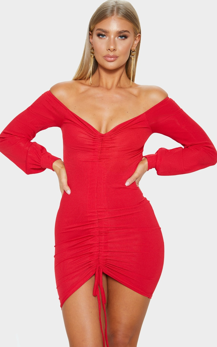 Red Ribbed Ruched Front Bardot Bodycon Dress 1