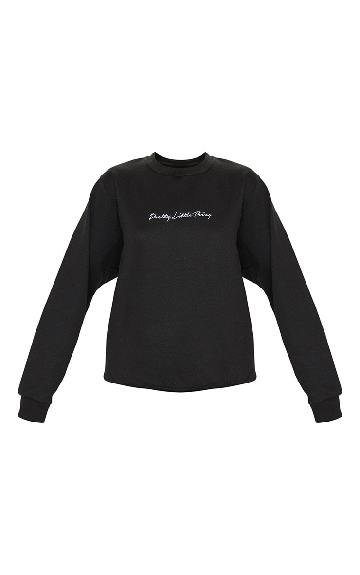 PRETTYLITTLETHING Black Embroidered Oversized Sweater 5