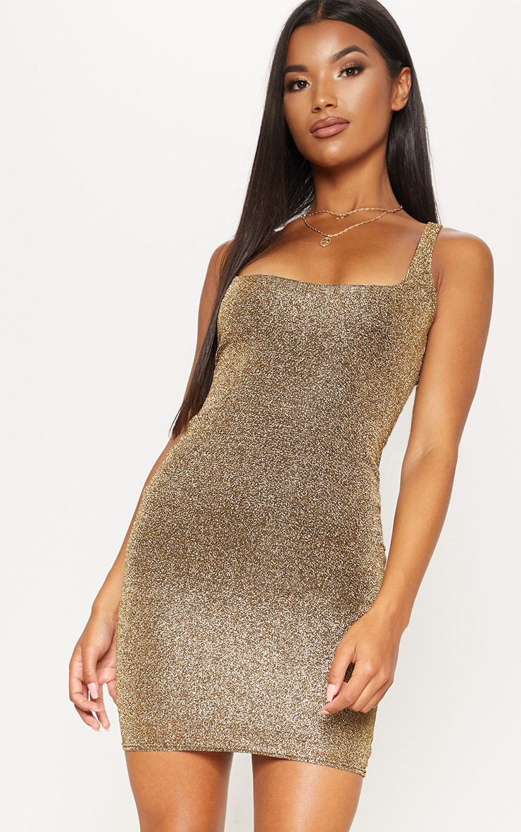 Gold Lurex Square Neck Bodycon Dress 1