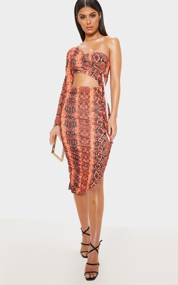72c9937b20 Orange Snake Print One Shoulder Cut Out Dress   PrettyLittleThing AUS