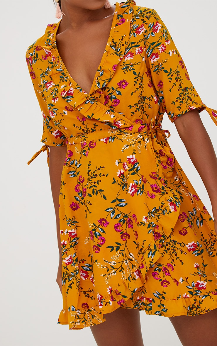 Mustard Floral Frill Wrap Dress 5