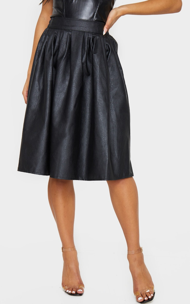 Black Faux Leather Pleated Midi Skirt 2