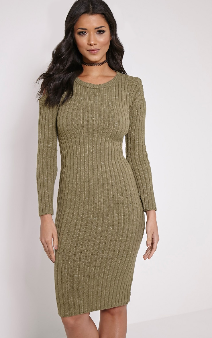 Paloma Khaki Ribbed Cut Out Shoulder Knitted Dress 4