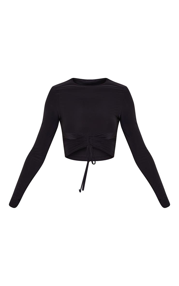 Black Slinky Long Sleeve Ruched Tie Front Crop Top 5
