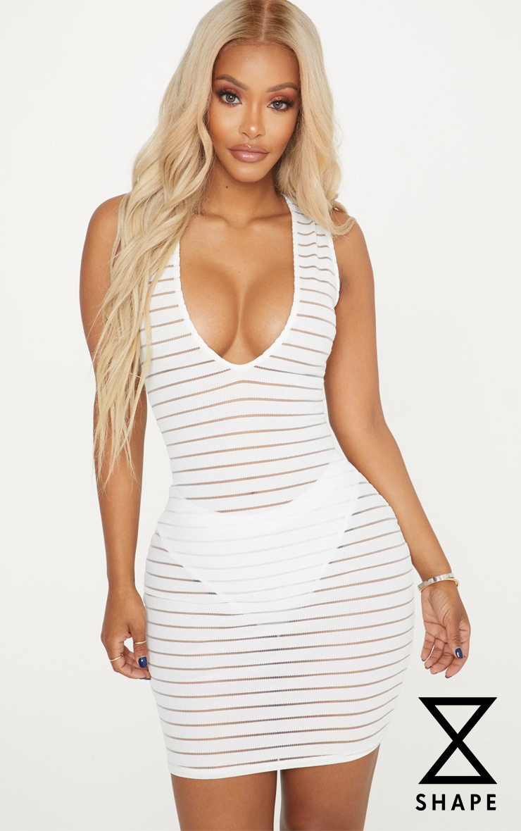 Shape White Burnout Rib Plunge Dress
