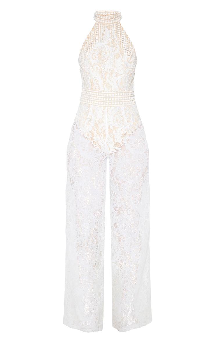 White High Neck Lace Jumpsuit 3