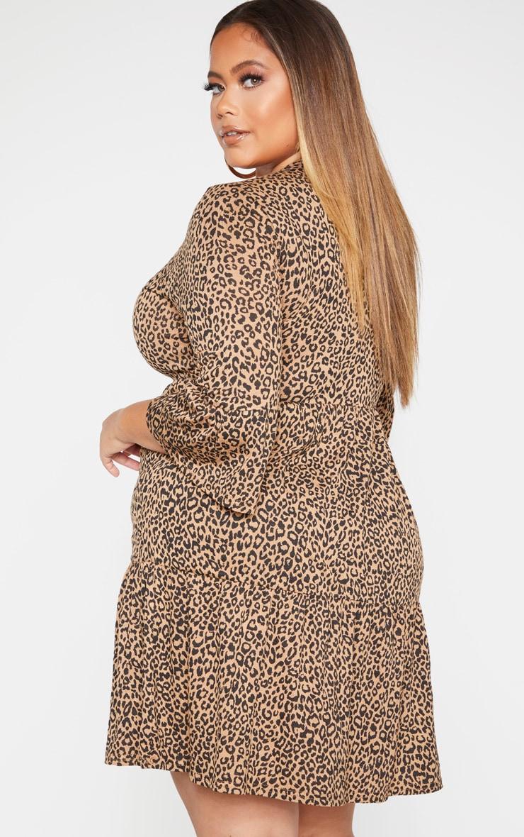 Plus Brown Leopard Print Ruched Detail Shift Dress  2