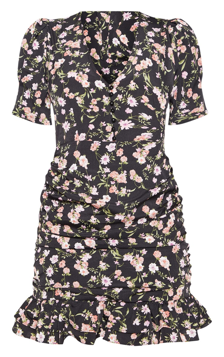 Black Ditsy Floral Ruched Skirt Tea Dress 3