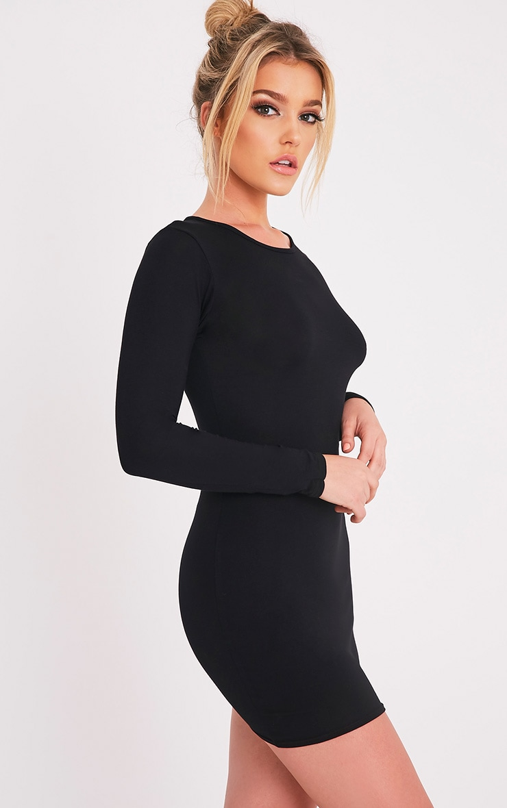 Amerie Black Jersey Long Sleeve Bodycon Dress 4
