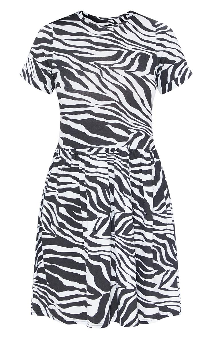 Black Zebra Print Short Sleeve Smock Dress 5