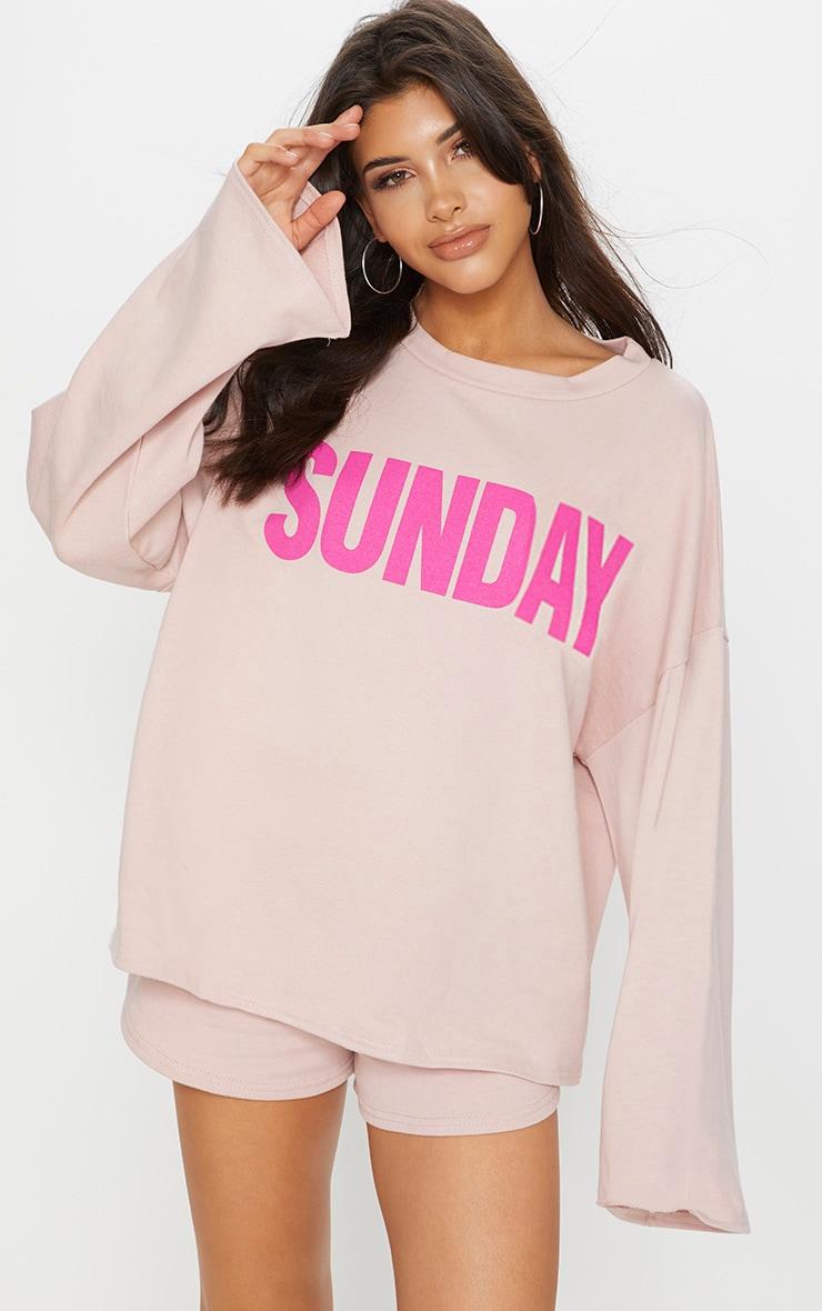 Pastel Pink Sunday Slogan Off Shoulder Sweater 1